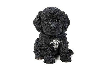 Sitting Black COCKAPOO Puppy Dog Life Like Figurine Statue Home Garden NEW