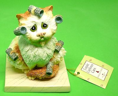 "Comic and Curious Cats New Rare Figurine "" Bed Head "" A7690 New in Box Free Ship"