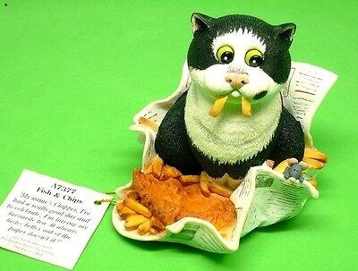 "Comic and Curious Cats Rare Figurine ""Fish and Chips"" A7377 New n Box Free Ship"