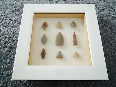 Neolithic Arrowheads in 3D Frame, Authentic Saharan Artifacts 4000BC (Q154)