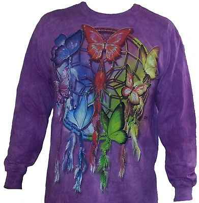 The Mountain Rainbow Butterfly Dream Catcher Long Sleeve T Shirt (Md-3x)