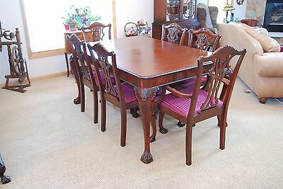 """Antique  Deep Cherry Ball and Claw Dining Room Set. Table is 62""""X42"""" w/One Leaf"""