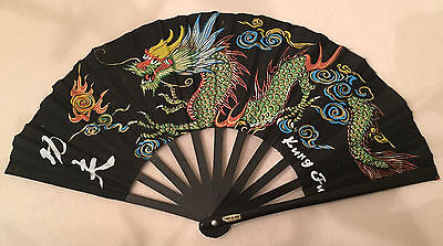 "Vintage CHINESE DRAGON ~ KUNG FU ~ Hand Held Cloth FAN ~ 10"" tall / 19"" across"