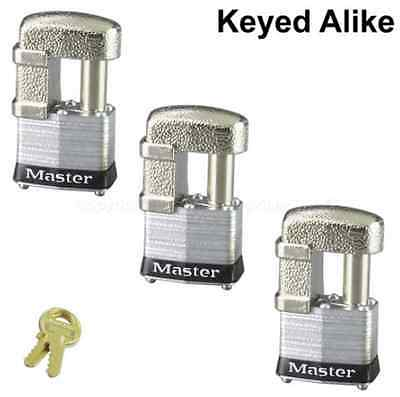 Master Lock 37KA Shrouded Padlock, Keyed Alike LOT 3 New In Box
