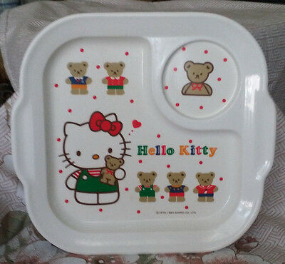"""Hello Kitty Melamine Plate with Cup Section Sanrio with Bears 9 3/4"""" x 9"""" x 1"""""""