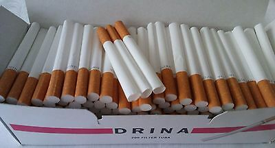 200x Empty Tobacco Cigarette filter tubes paper Drina King Size
