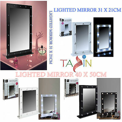 Light Up Dressing Table Hollywood Mirror LED Bulbs Make Up Vanity Mirror Wooden