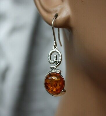 Dangling Cherry Baltic Amber Earrings 925 Sterling Silver -  Pendant Available