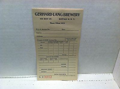 Gerhard Lang Brewery Buffalo, NY order pad page with 2 carbon copies Ale/Beer