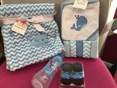 Baby Shower Gifts, NIP, Whale Blue decor, Blanket, Towels,Cloths, NEW