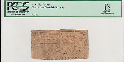 April 16, 1764 15s NEW JERSEY COLONIAL CURRENCY ( PCGS FINE APPARENT 12 )