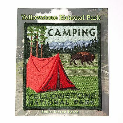 Official Yellowstone National Park Souvenir Patch Camping Tent Bison Wyoming