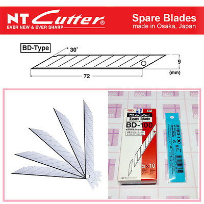 JAPAN made NT Cutter BD-100 9mm 30° Spare Blade for snap-off utility knife-ALLEY