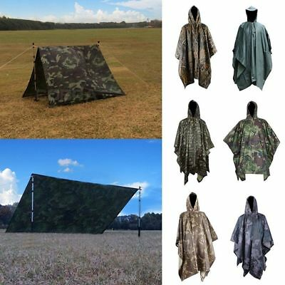 Men's Camo Shooting/Camping Poncho Military Tactical Waterproof Cycling Raincoat
