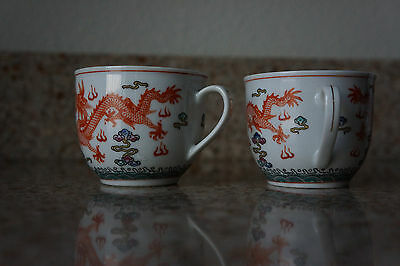 Chinese Antique or Vintage Marked China 2 Tea Cups - Hand Painted Dragons Water