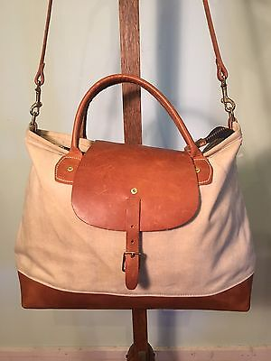 Wood & Faulk Waxed Canvas And Leather Zip Top Tote USA Nice!