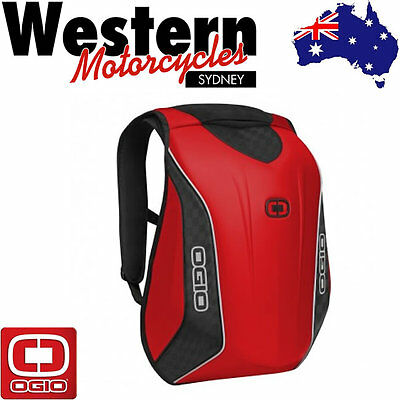 OGIO Mach 5 No Drag Stealth Motorcycle Backpack Black Luggage Carrier RED