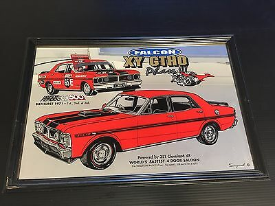Bar Mirror Ford Xy Gt Ho Phase Iii Man Cave Bar Ware 30 Years Old Rare
