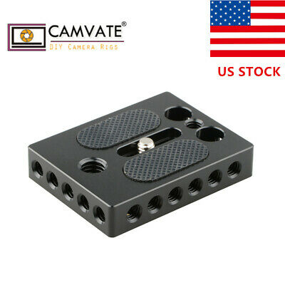 """CAMVATE 1/4"""" & 3/8"""" Thread Cheese Plate Camera Baseplate for DSLR Cage Rig"""