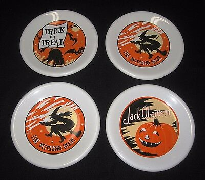 Pottery Barn HALLOWEEN china plates set of 4 Great condition WITCH PUMPKIN CAT