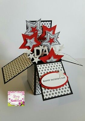 Handmade card, card in a box, Black/Red stars Fathers Day Card for dad, dads day