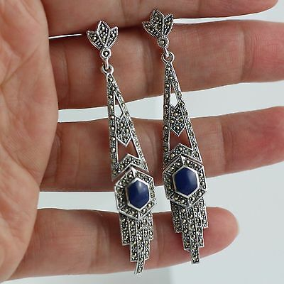 Gorgeous Art Deco Inspired Lapis Lazuli Marcasite Earrings 925 Sterling Silver