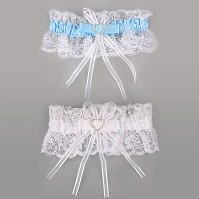 Ivory Satin Luxury Lace Bridal Fancy Bow Wedding Garter With Lucky Blue Poem