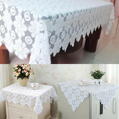 Square White Flower Tablecloth Party Doily Table Cloth Sofa Decor Cover Gift