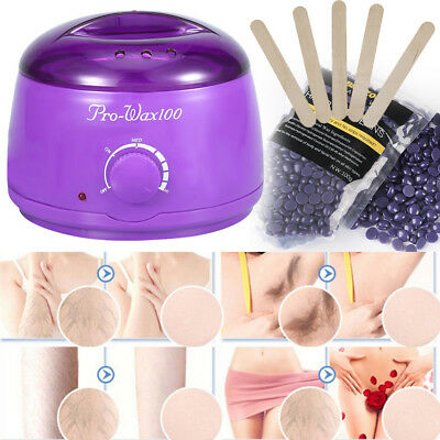 Complete Waxing Kit Heater Wax Pot Hair Removal Hot Wax Bean Stick Machine Kit S