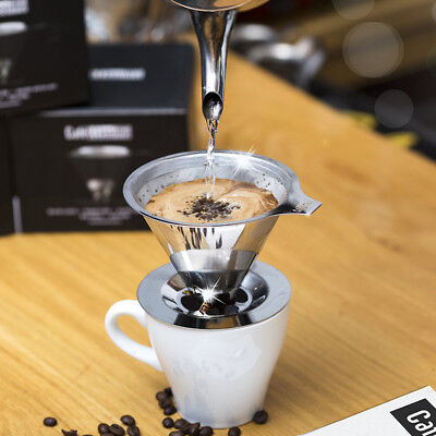 Stainless Steel Pour Over Cone Coffee Dripper Double Layer Mesh Reusable Filter