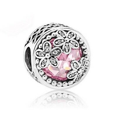 S925 Sterling Silver EURO Dazzling Daisy Meadow CZ Stunning Charm