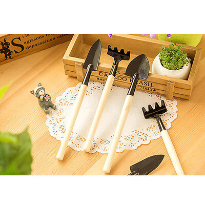 3pcs Mini Plant Garden Gardening Tools Wooden Handle Metal Tool Rake Shovel Set