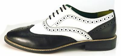 Black & White Spectator Wingtip Spats Leather Mens Brogues Gangster Shoes