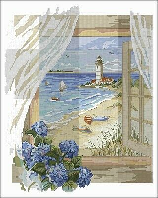 A View from The Window - Lighthouse - Cross Stitch Chart - Free Post