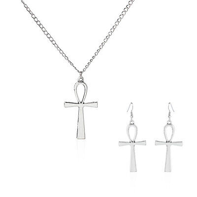 1 Sets Antique Silver Egyptian Ankh Cross Drop Charms Pendant Earring & Necklace