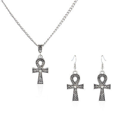 1 set Antique Silver Egyptian Ankh Cross Charms Pendant Earring Necklace 18-24''