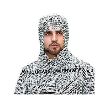 Armor Coif Chainmail Butted Steel Armour Chrome One Size