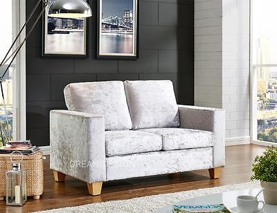 Crushed Velvet Fabric Faux Leather 2 Seater Sofa Modern Design Living Office