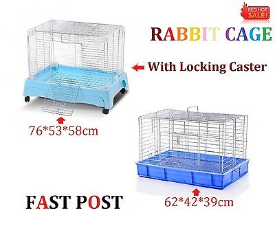 Pet Rabbit Bunny Hutch Ferret Guinea Pig Cage Run Chinchilla House Carrier Blue