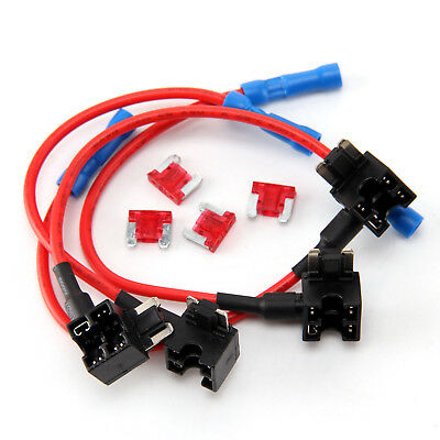 4 Add-a-Circuit Fuse Tap-Micro 10A Auto Mini Blade Piggy Back Fuse Holder