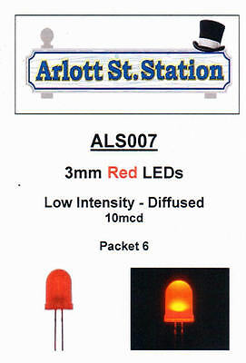 ALS007 3mm Red LEDs - Low Intensity Diffused - 10mcd - For DC & DCC - Pkt 6