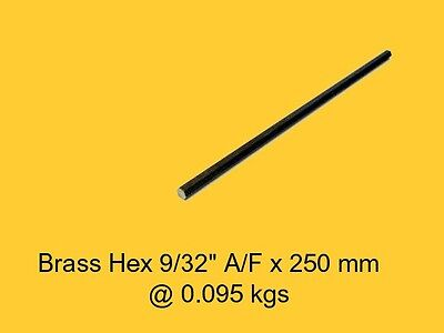 "Brass Hex 9/32"" A/F x 250 mm-Lathe-Steam-Mill-OG"
