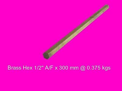 "Brass Hex 1/2"" A/F x 300 mm-Lathe-Steam-Mill-OG"