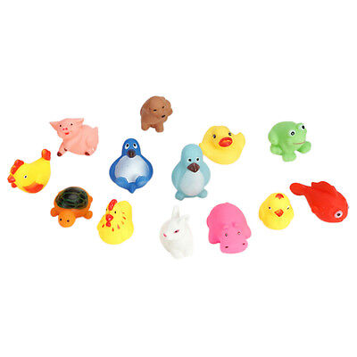 13PCS Squeaky Animal Baby Bath Toys Cute Rubber Duck Children Kids Water Playing