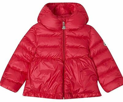 Moncler Baby Coral Red Odile Down Padded Jacket 9-12 Months