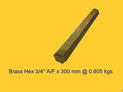 "Brass Hex 3/4"" A/F x 300 mm-Lathe-Steam-Mill-OG"