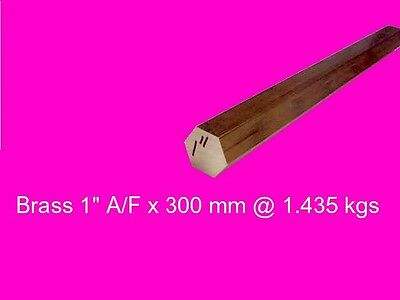 "Brass Hex 1"" A/F x 250 mm-Lathe-Steam-Mill-OG"