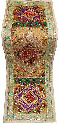 Indian Patch Work Embroider Magnificent Wall Hanging Table Runner Wall Tapestry