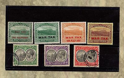 DOMINICA War Tax SKELETON POSTMARK Vintage Stamps GEORGE V