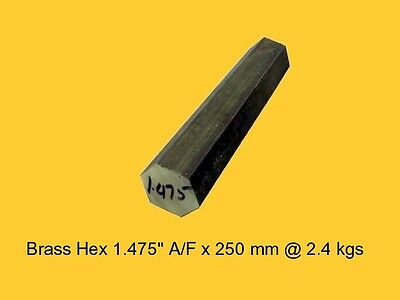 "Brass Hex 1.475"" A/F x 258 mm-Lathe-Steam-Mill-OG"